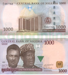 Thousand Naira Note Front Back Or
